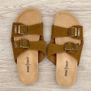 Minnetonka | Gypsy Dusty Brown Slide Sandals 8